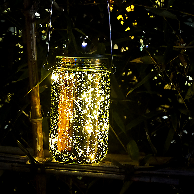 Home garden decorative hand blown colored glass mason hanging solar led jar lighted / candle holder