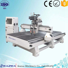 Pneumatic system cnc router with two spindle heads , big wood cutting machine , multi head cnc machine