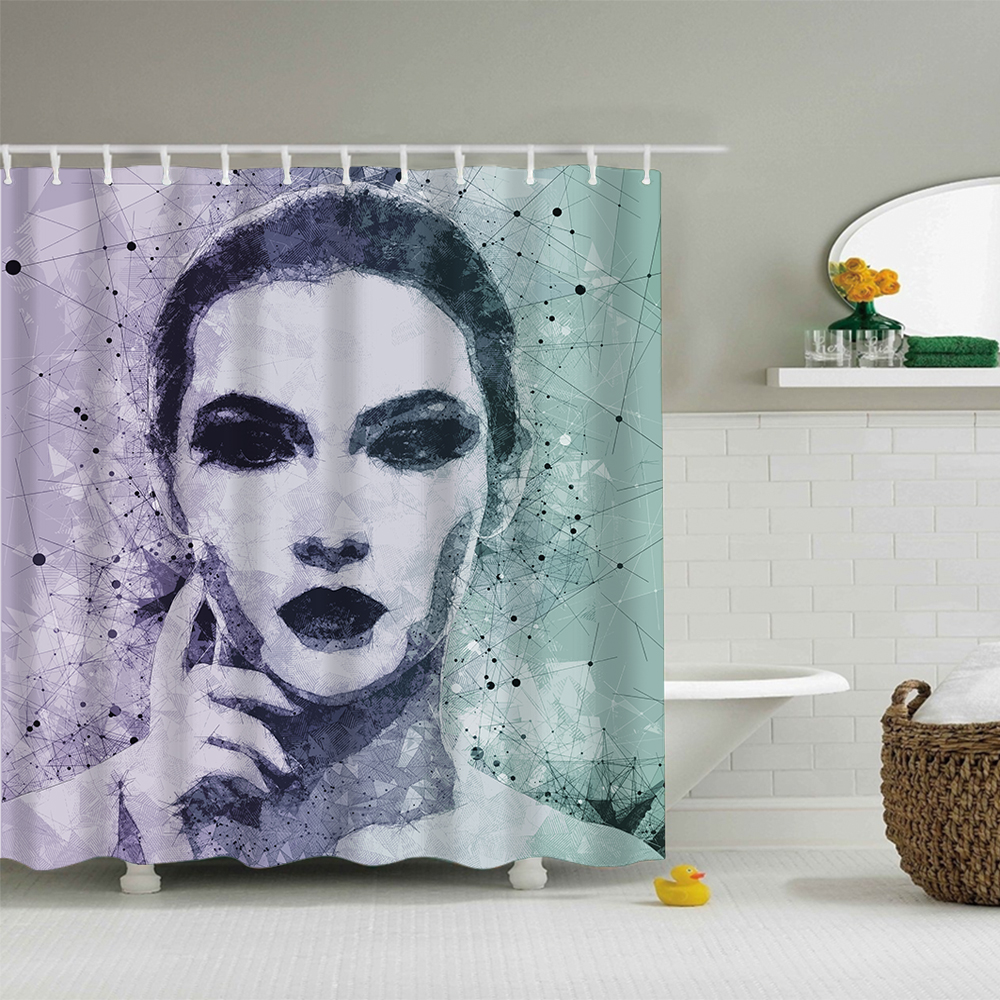 Polyester Fabric Shower Curtain Digital Print with <strong>12</strong> <strong>C</strong> type hooks