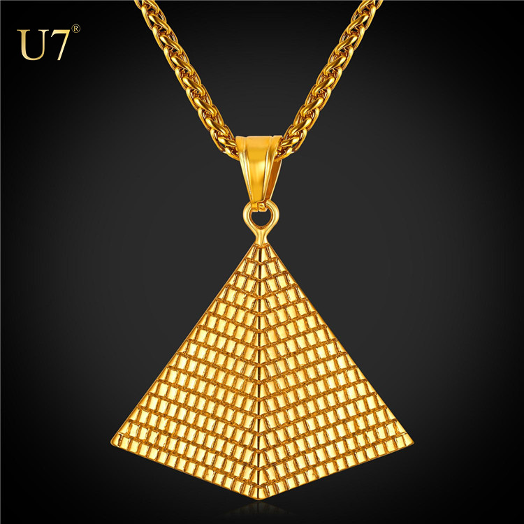 U7 Egyptian Pyramid Necklace & Pendant 18k Gold Plated 316L Stainless Steel wheat Chain Women/Men Egypt Jewelry