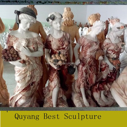 Beautiful Multi-color Marble Lady Statue with Lamp Sculpture for Sale