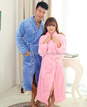 unisex cheap sleeping robe cotton/fleece sleeping robe for women