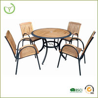 outdoor furniture 5pcs wood dining set cheap hot sale HL-7S-12001