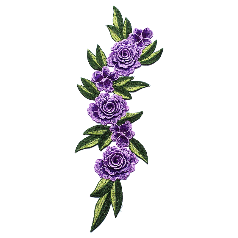 2018 Hot Selling Beautiful Purple Flower Custom 3d Embroidery