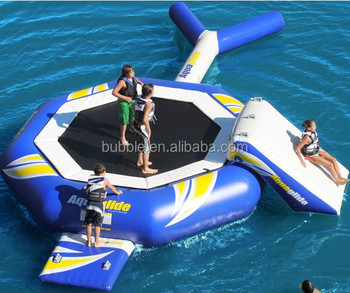 Low price inflatable water trampoline, customized bouncy trampoline aqua game