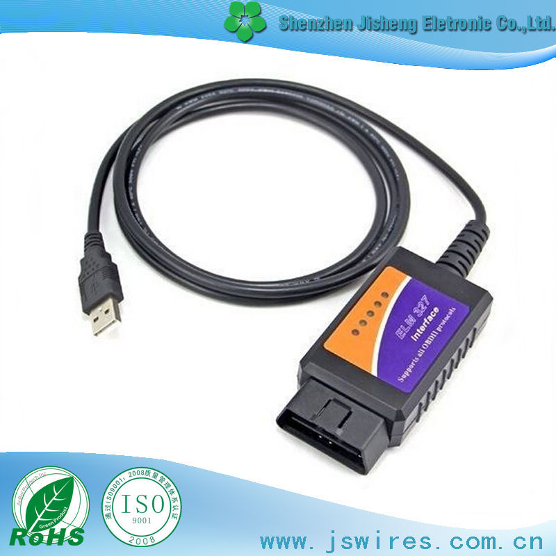High Quality Customized USB to OBD2 Cable Support All OBD Protocols