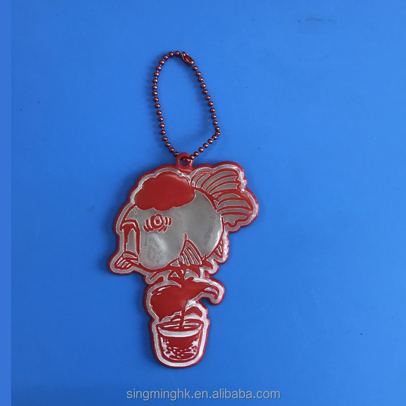 Cartoon face reflective pendant, keychain for visible safety dangled on bag/ mobile phone/ clothing