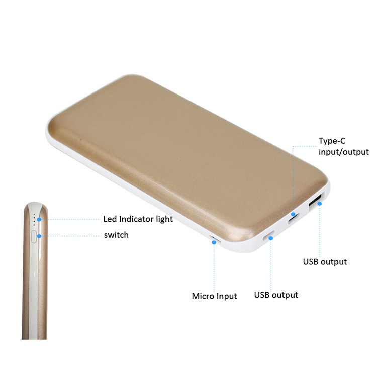 10000mAh Type-C External Battery Pack Backup Portable Charger with Quick 3.0 Charge for Smartphones
