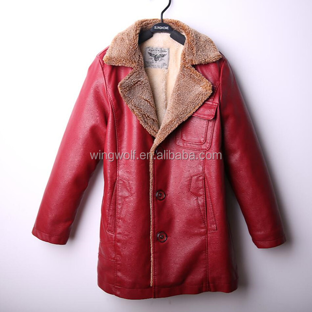 Kids Winter Jacket and Coat PU Leather Jacket Thickening Wool Windbreak Waterproof Warm Lamb Fur Motorcycle Jacket for Kids