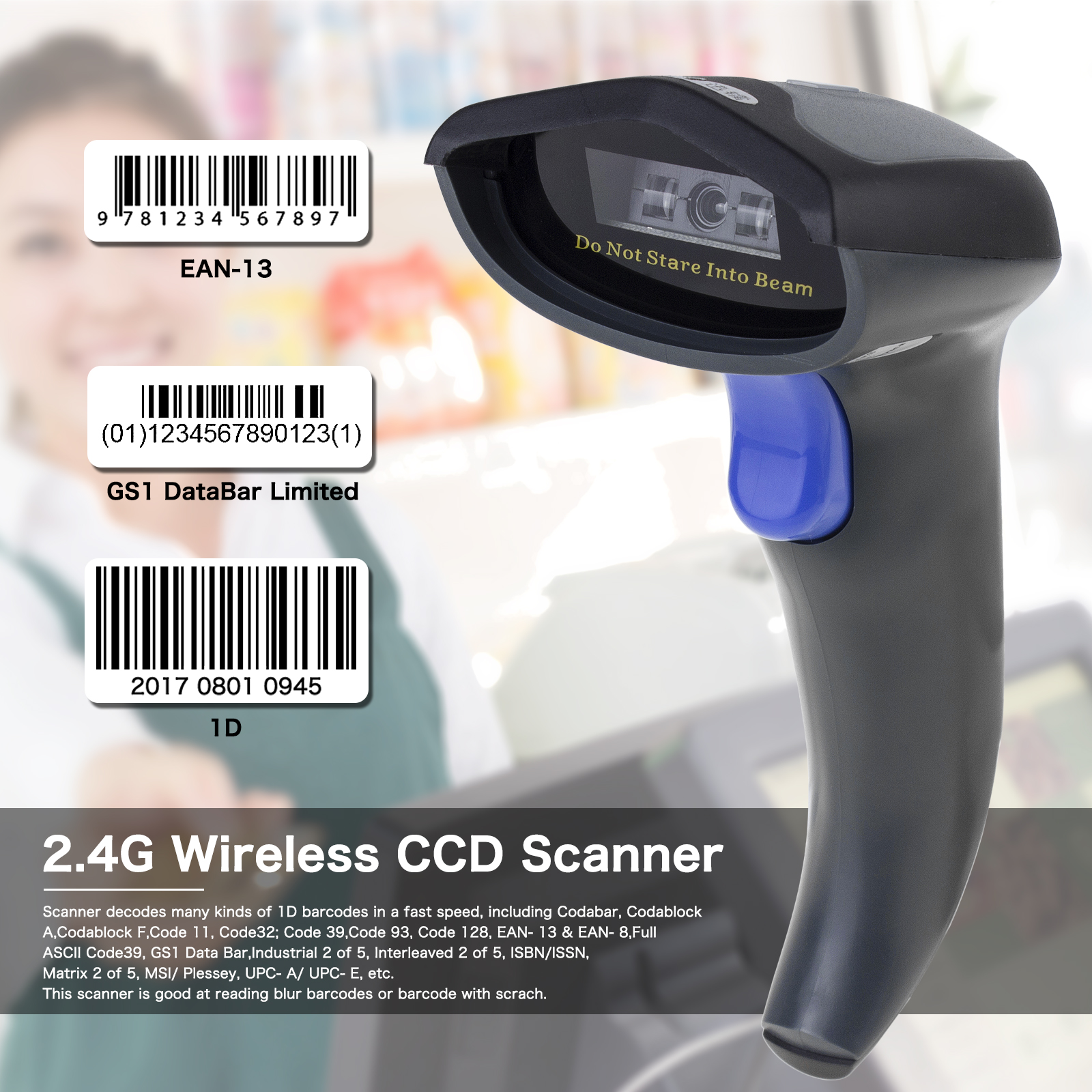 NETUM W6 Wireless CCD Barcode Scanner with Stand AND W8-X Bluetooth 2D Bar Code Reader QR Data Matrix PDF417 IOS Android