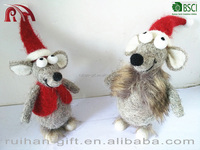 new fation christmas decoration mouse with a red hat
