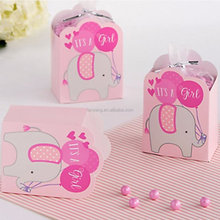 Baby Shower Elephant 'It's a Girl' Favor Box Kit w/ Twist Ties