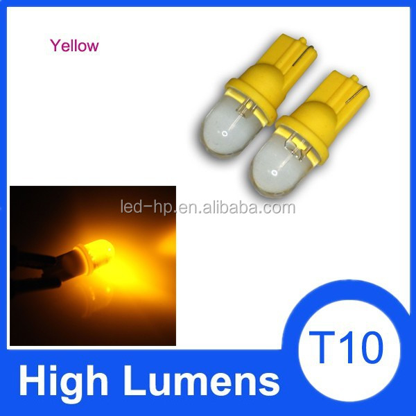T10 1 LED Light Lamp Bulbs Dome white/yellow/blue/green/red Colors License Plate for W5W 168 194 Convex Side lamp