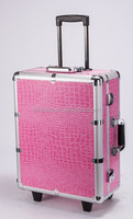 pink hard side expandable makeup case with light and mirror