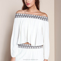 Off Shoulder White kurta Embroidery Blouse Designs Latest Blouse For Women 2015 HSB6443