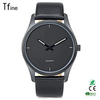Black Tone Black Face/Simple and Minimalist Unisex Watch/Mens and Womens Leather Watch