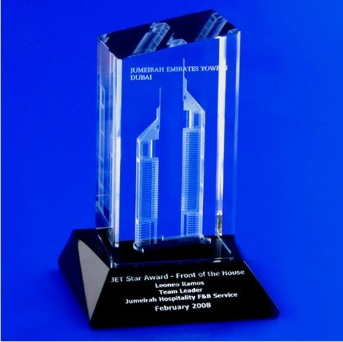 Crystal Laser Engraved Buildings 5 : Jumeirah Emirates Towers on black crystal case