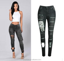 WS0033 Wholesale Latest Jeans Tops Girls Ripped Rock Jeans for Ladies