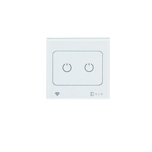 WiFi Smart Home Touch Control Light Switch with LED Indicator White Crystal Glass Panel, 2-gang 1-way Touch Switch for Light