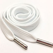 simple style white shoe lace with metal tips,cheap polyester shoelace