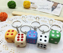 3d dice shape keychains, 3d amusing key chain creative key ring fashion keyrings colorful