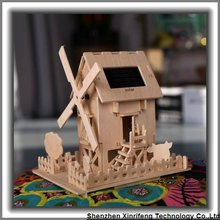 stiker manufacture wooden toy house solar windmill