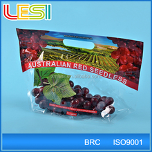 Suitable punch hole grape cherry fruit protection plastic ziplock bag with header custom printing logo wholesale
