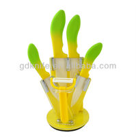 High quality new design 5pcs color TPR handle kitchen ceramic knife