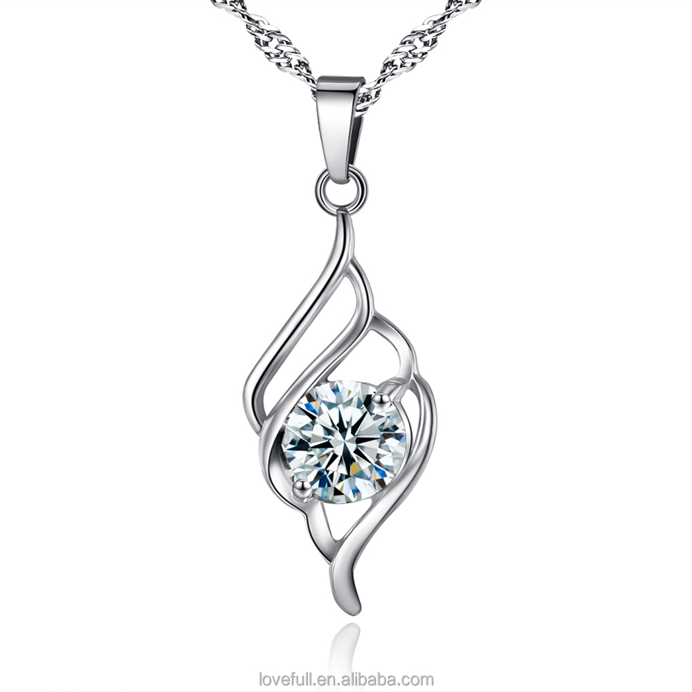 Crown Pendant Crystal necklace Wing of Angel Necklace Zircon Necklace