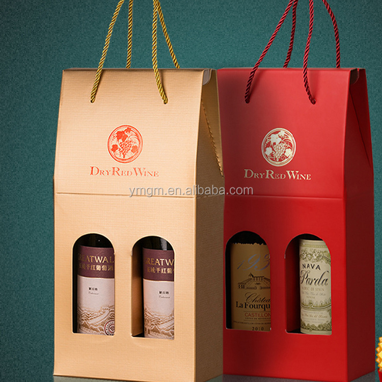 Customized logo luxury hot stamping wine bottle paper bag with PVC window