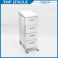 4-tier Mdf Narrow Drawer Trolley With Wheels And Tray