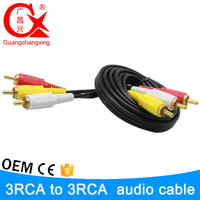 5m Gold plated black color 3.5mm stereo female male 3 rca cable