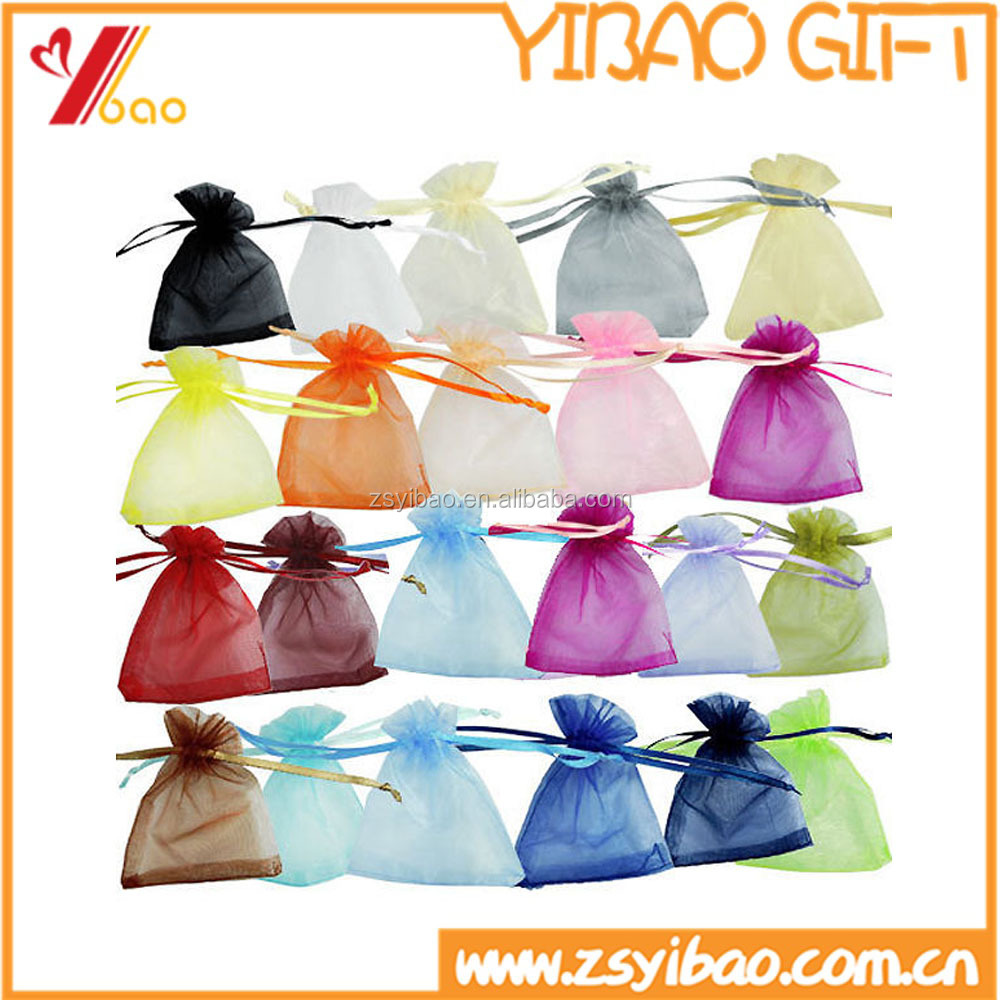 2016 Colorful organza drawstring gift bag for Christmas decoration/Organza gift bags