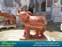 red stone marble elephant sculpture