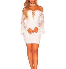 New Pattern Casual Hollow Lace Shoulder Long Sleeve White Lace Prom Dress
