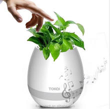 cheap plastic music flower pots music flower pot with bluetooth speaker colorful LED lights