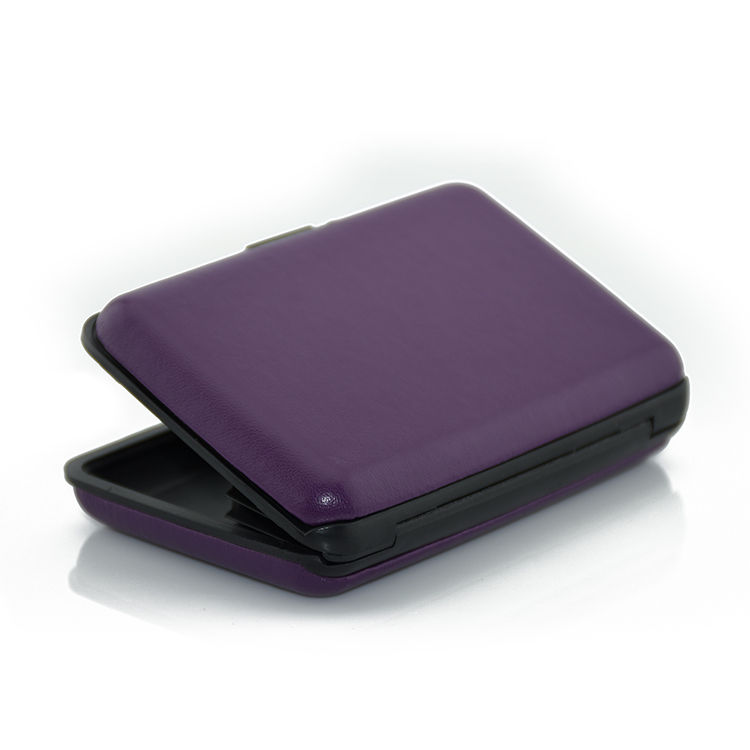 Flexible price travel gift large capacity purple blocking aluminum credit card case