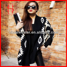 Women winter geometric patterns kimono cardigans knit fashion ponchos
