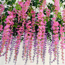 Artificial Flowers Wisteria Flower Vine Rattan Plant Wedding Bedroom Living Home Room Decorative