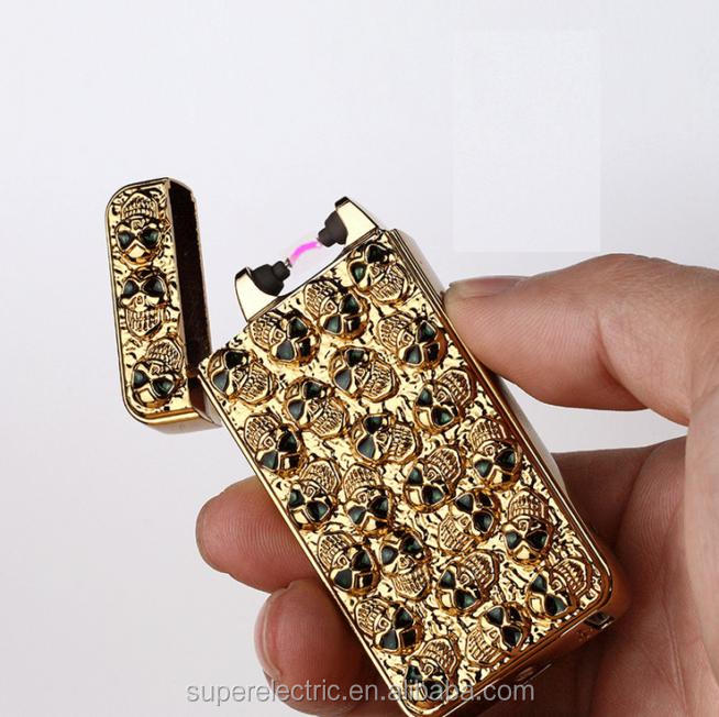 Hight Grade Cheap Embossing Tiger and Jewel Single Arc Lighter USB Electric Arc Lighters packed by Gift Box