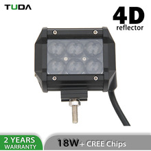 Newest Aluminum Housing Wholesale Dual Row 4D 4 inch Led Light Bar, 18W Driving Led Work Light Bar