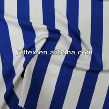blue white stripe printed spandex rayon knitted organza fabric for garments