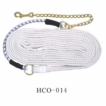 Elastic cotton horse training rope with chain snap