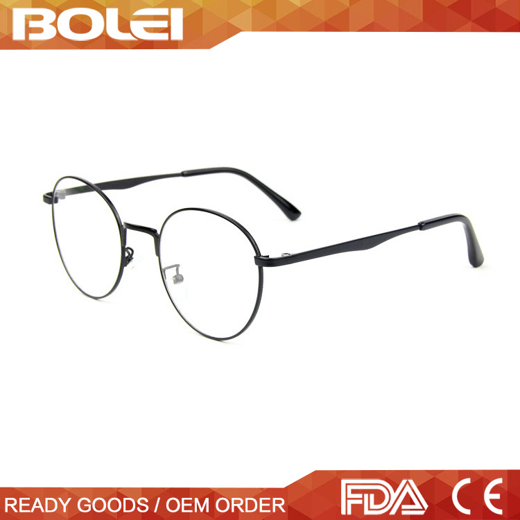 hot selling full rim classic round metal eyewear for reading glasses with clear lens