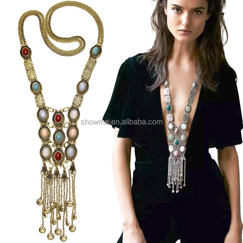 Exaggerated Women Long Boho Necklace Crystal Inlaid Charm Hang Double Chain Tassel Statement Necklace Jewelry Wholesale