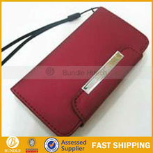 High quality dull polish purse Leather Case for iphone 5 with card slot