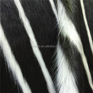 Fashionable Black Faux Fur with White Strip Jacquard 11% Modacrylic 89% Acrylic Artificial Fake Fur Fabric Material for Coat
