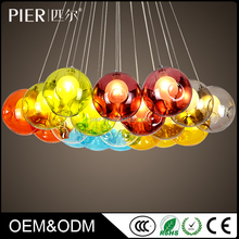 Hot hotel Indoor decorated colorful round crystal ball ceiling hanging glass chandelier lights