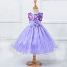 Girls Evening Dress Purple Flowers Mesh Ball Gown Princess Party Dress Christmas Gift for Girl Children New Year Clothing LQ008