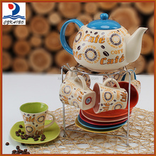 Popular european style porcelain colorful tea pot and cup set